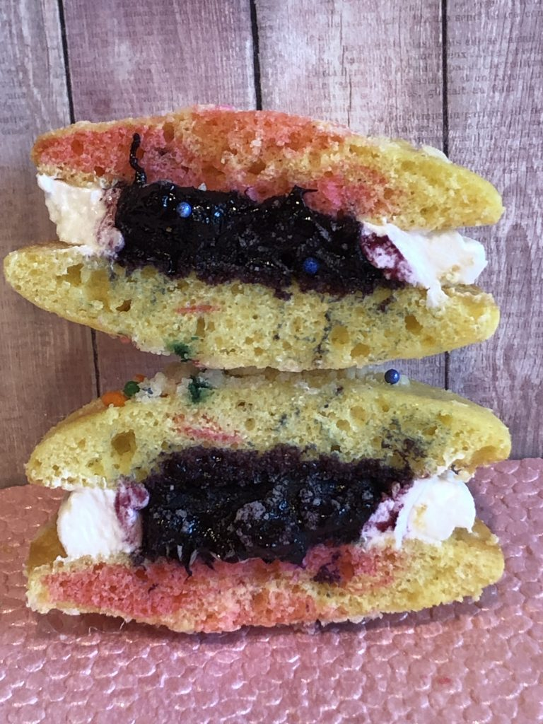 blueberry filling inside whoopie pie