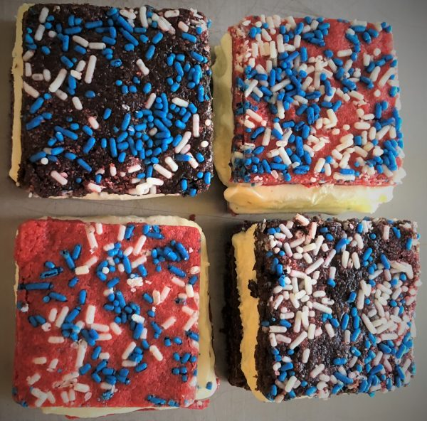 4 sliced ice cream sandwiches