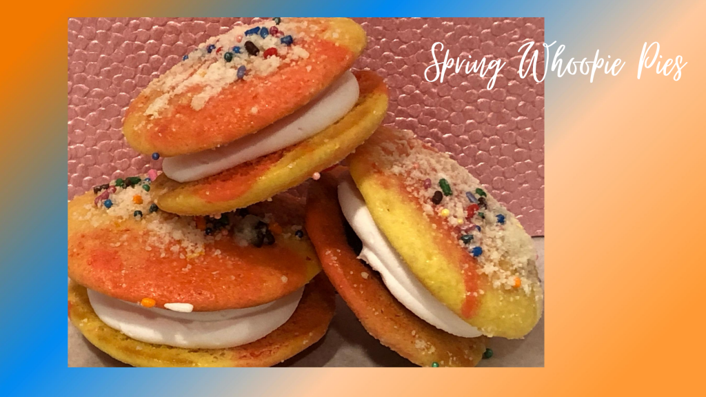 spring whoopie pies on a platter