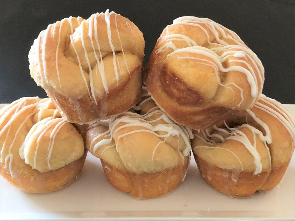 Coffee breakfast rolls stacked on a platter