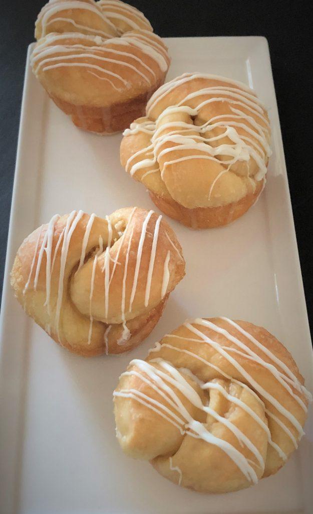 Coffee breakfast rolls on a platter