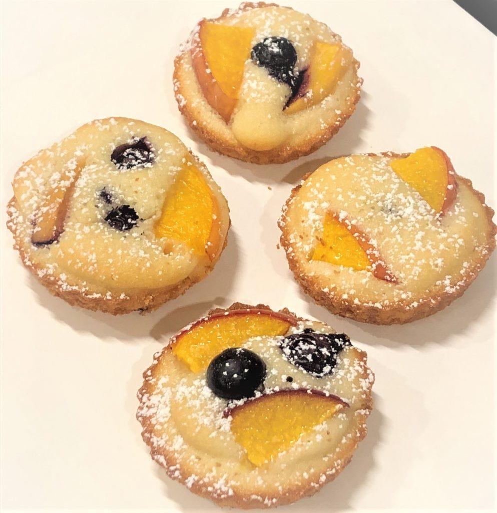 peach tea cakes on a platter
