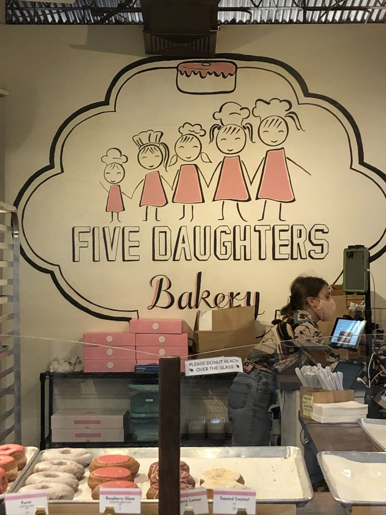 5 daughters bakery sign in the bakery