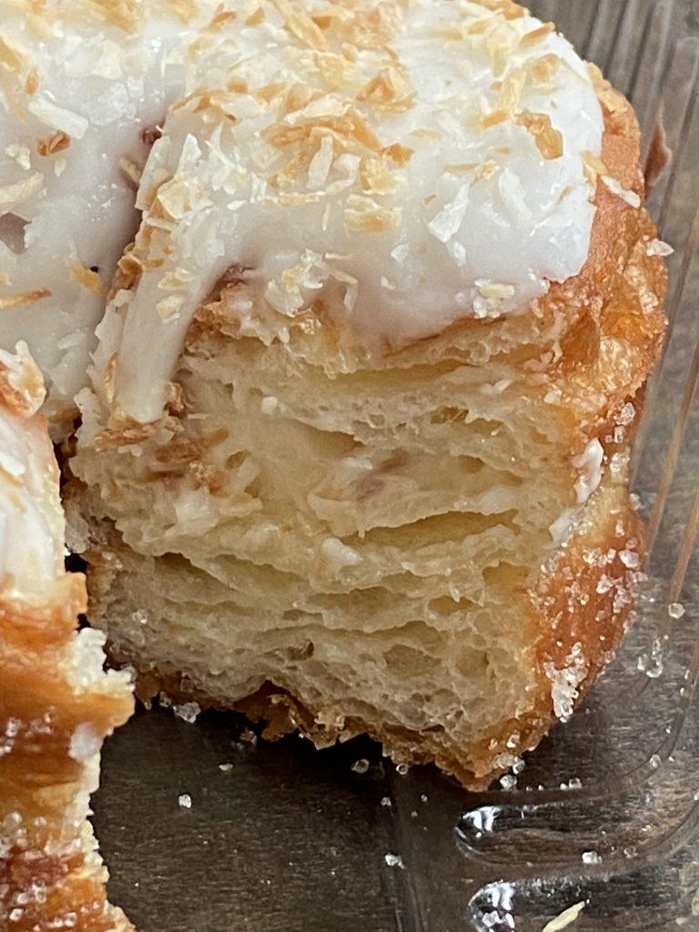 up close coconut doughnut sliced