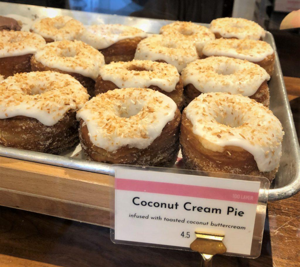 coconut doughnuts on tray