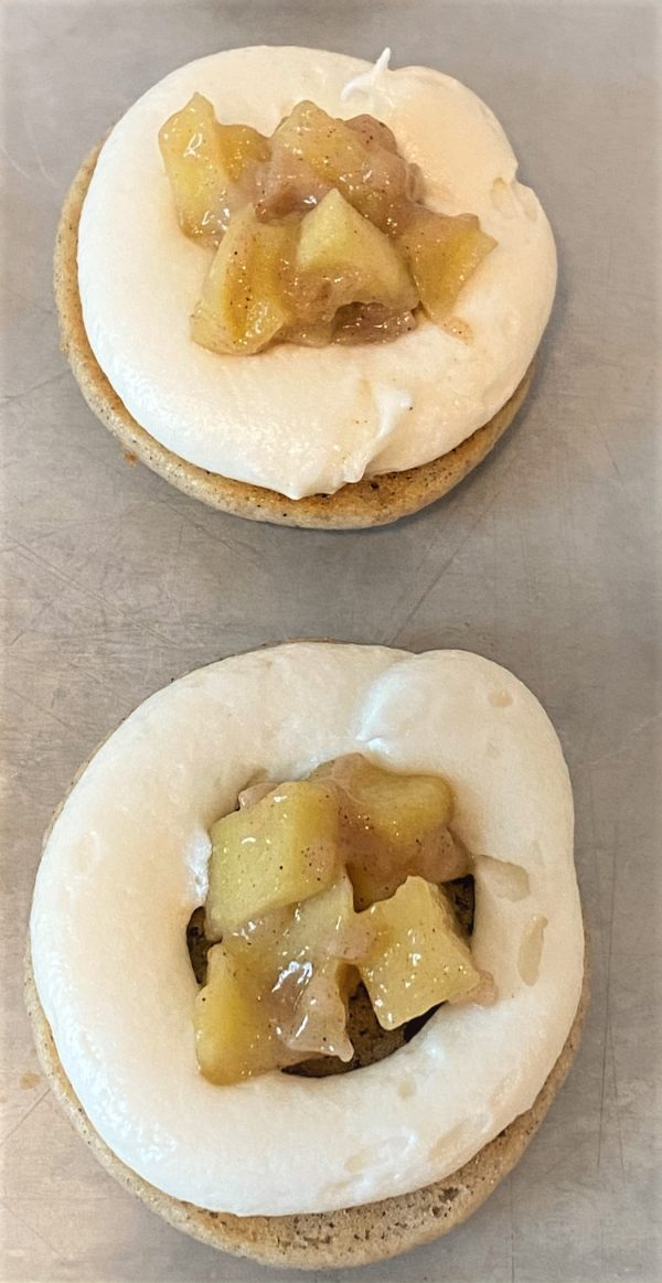 filled apple pie filling and buttercream in whoopie pie