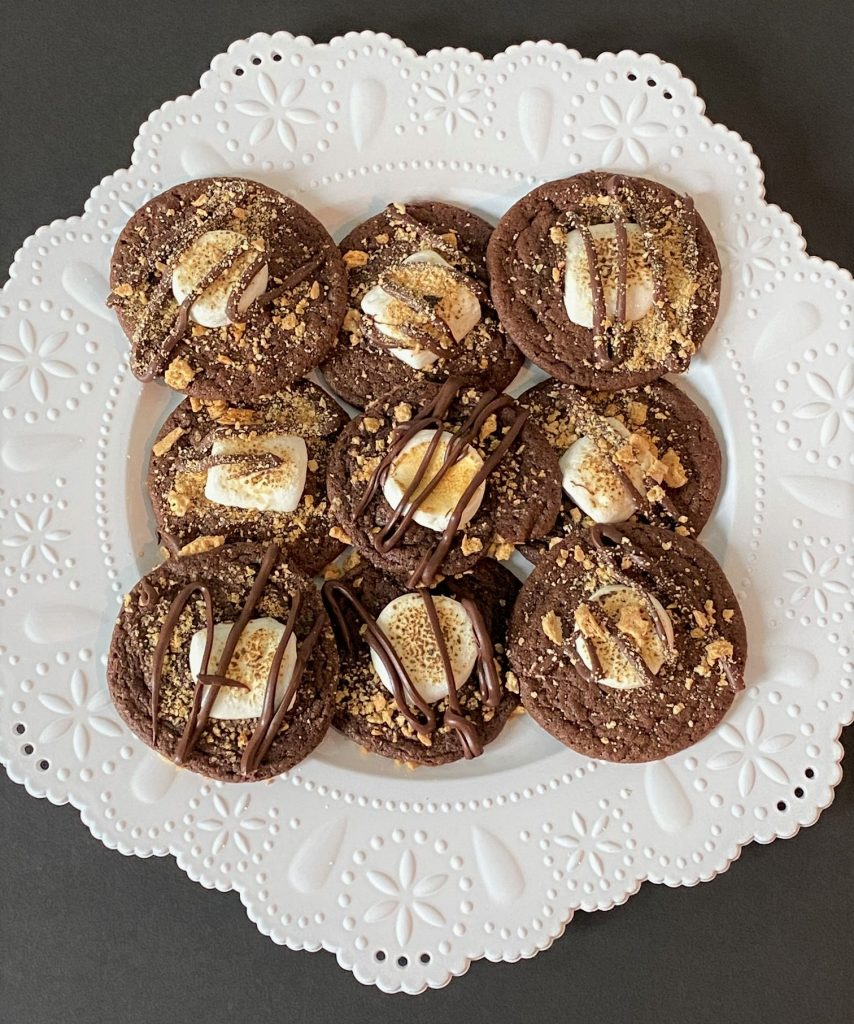 smore cookies on a plate