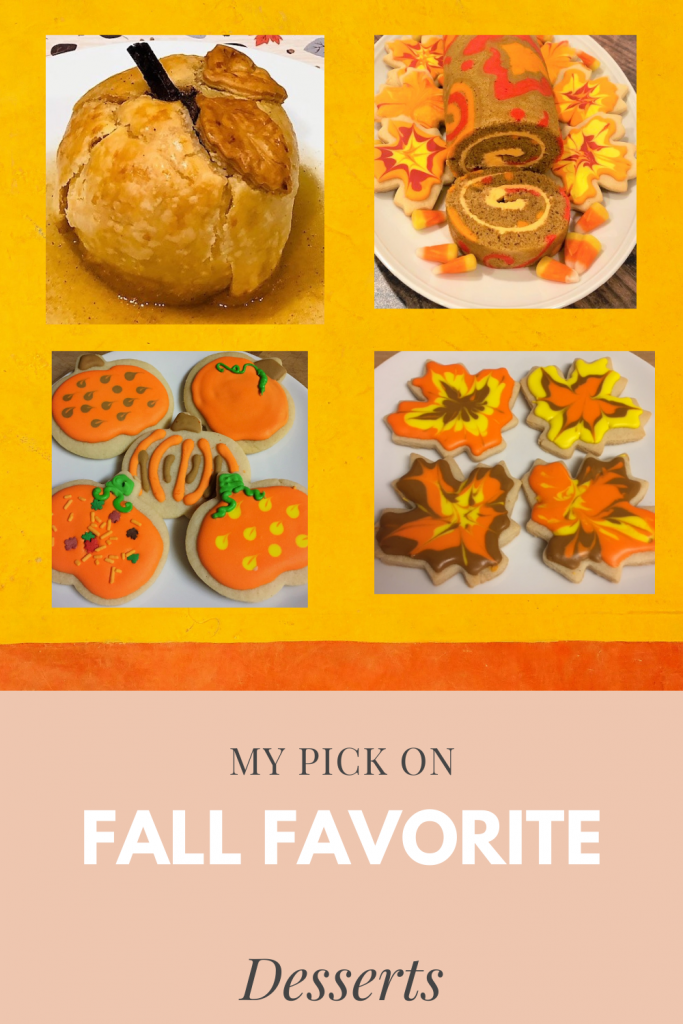 collage of fall desserts