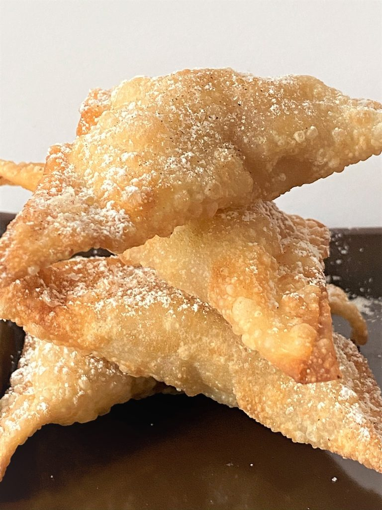 stacked apple pie wontons