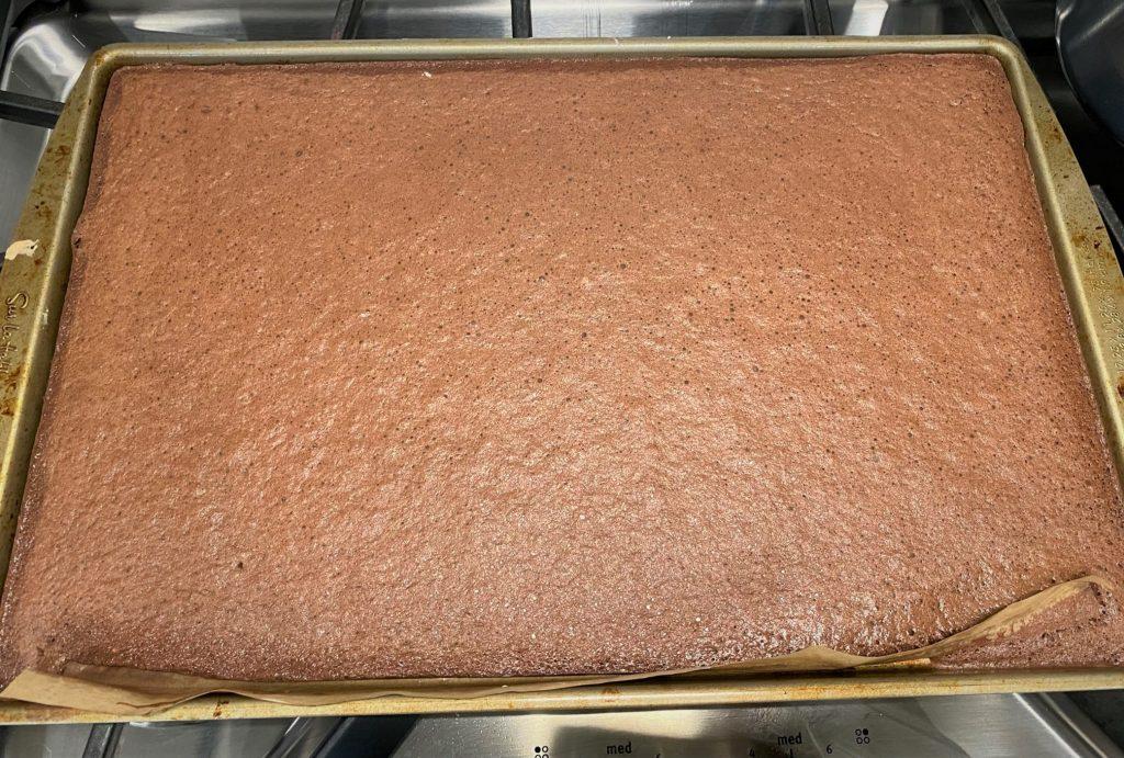 baked chocolate genoise cake
