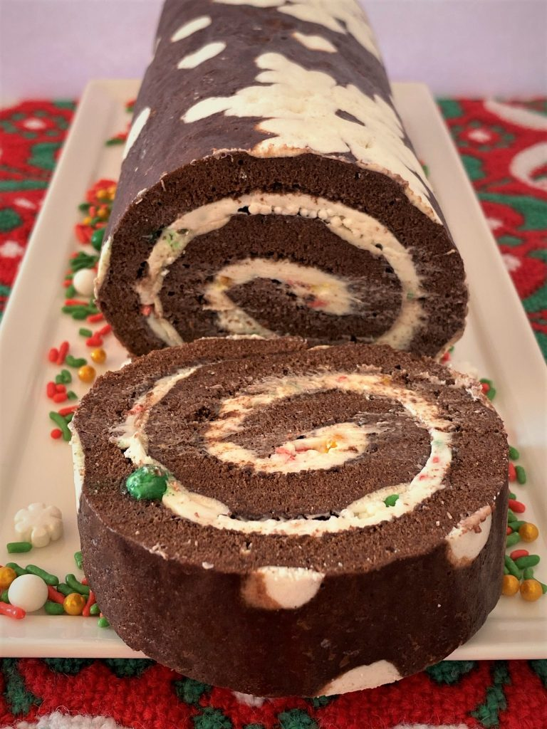 chocolate cake roll sliced