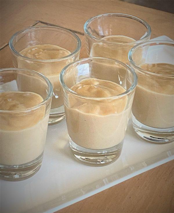 filling shot glasses with coffee pot de creme