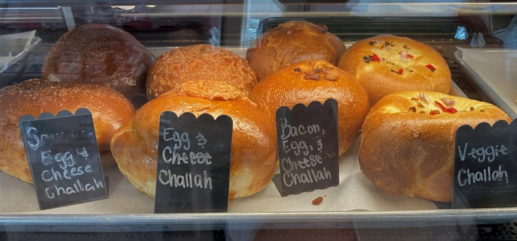 Hollah Breads in a bakery case