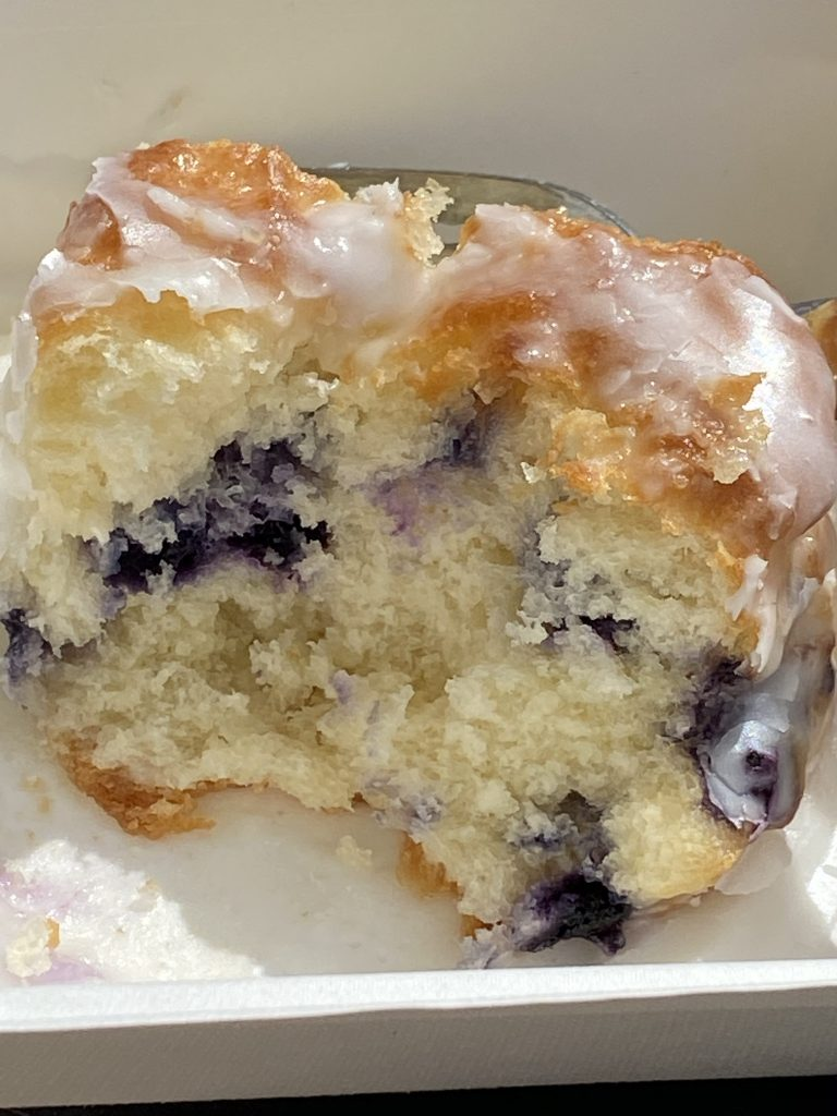blueberry biscuit in half