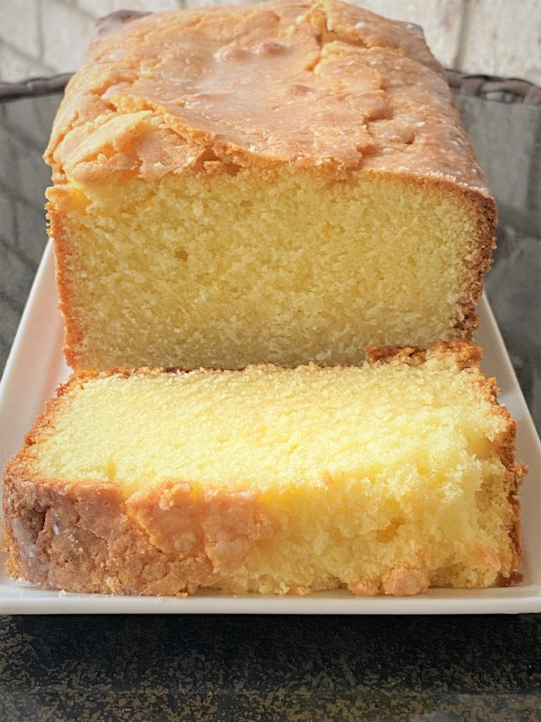 lemon coconut pound cake sliced