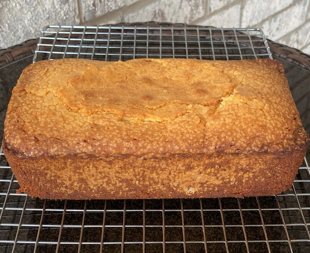 pound cake cooling on a rack