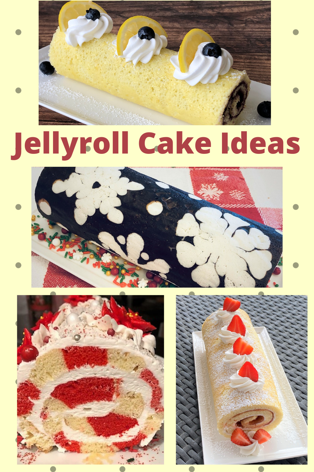 collage of jellyroll cakes