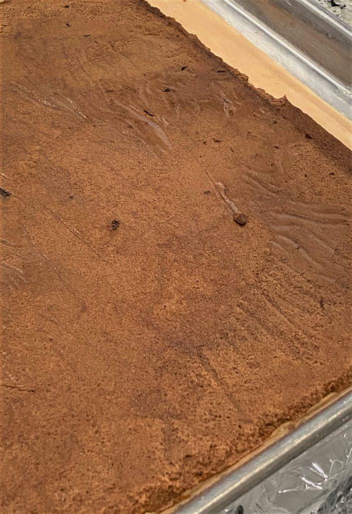 flourless chocolate cake on a sheet pan