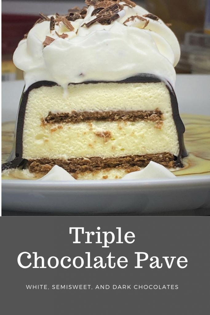 triple chocolate pave dessert on a plate