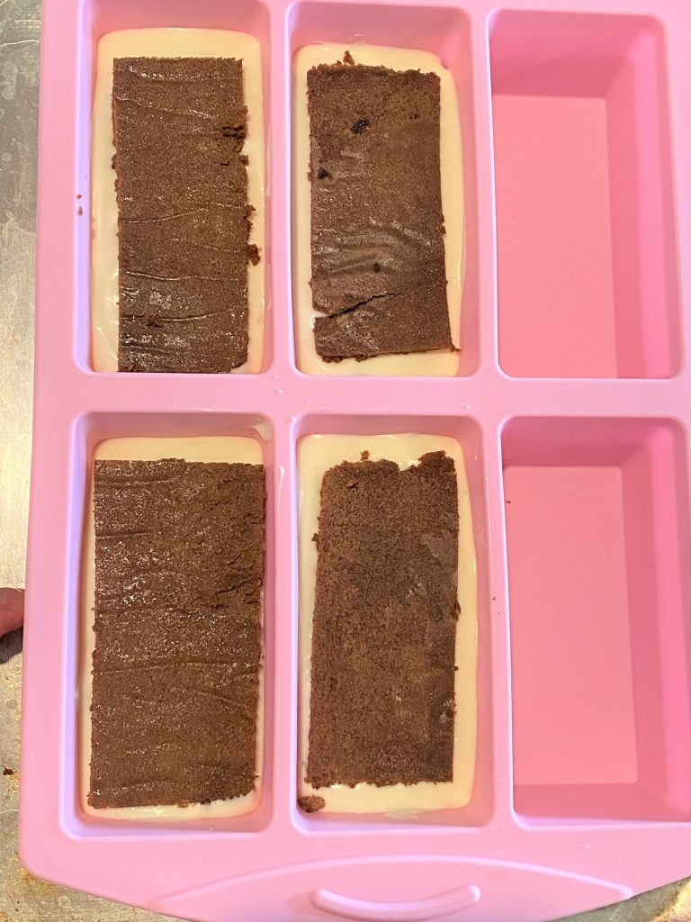 cake layers in a mold