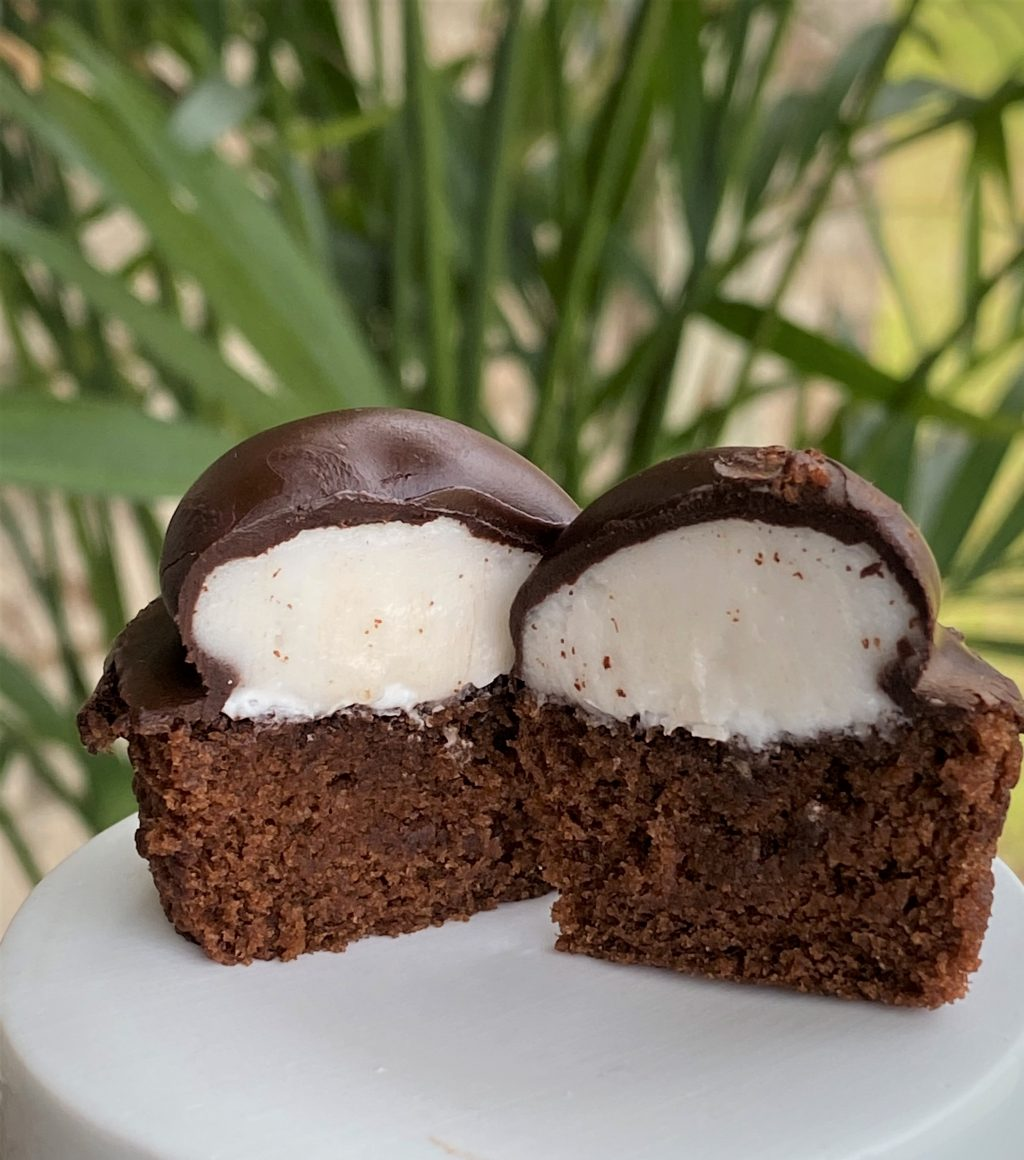 junior mint cupcakes halved on a plate
