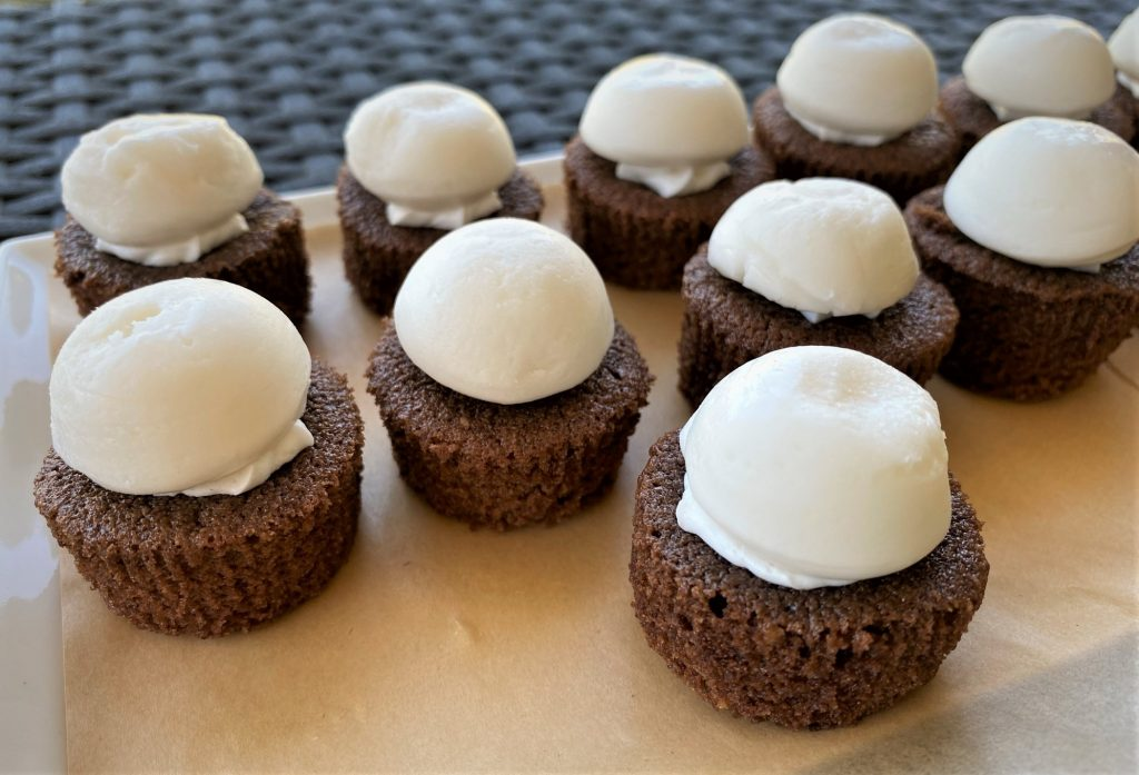 chocolate cupcakes with a mint cream topping