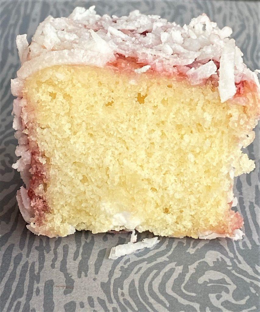 raspberry zinger cake sliced open
