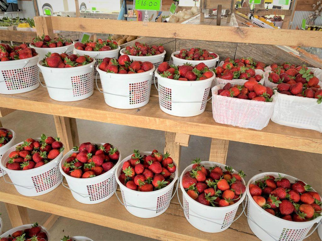 strawberry baskets in farmers market