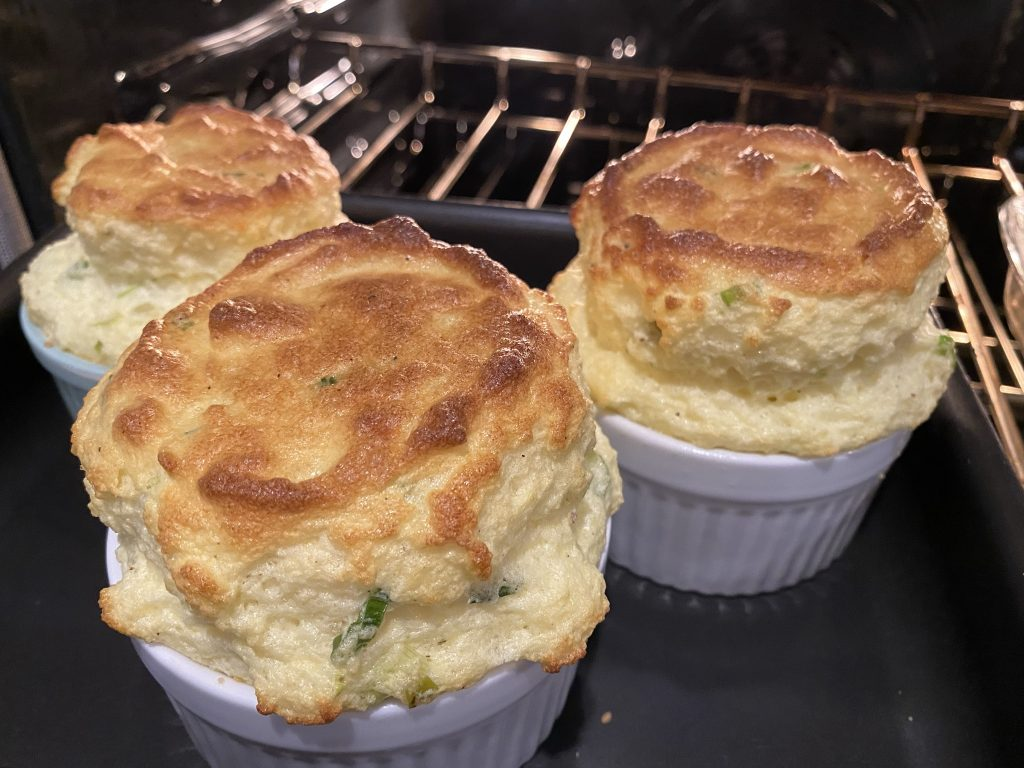 cheddar chive souffles out of the oven