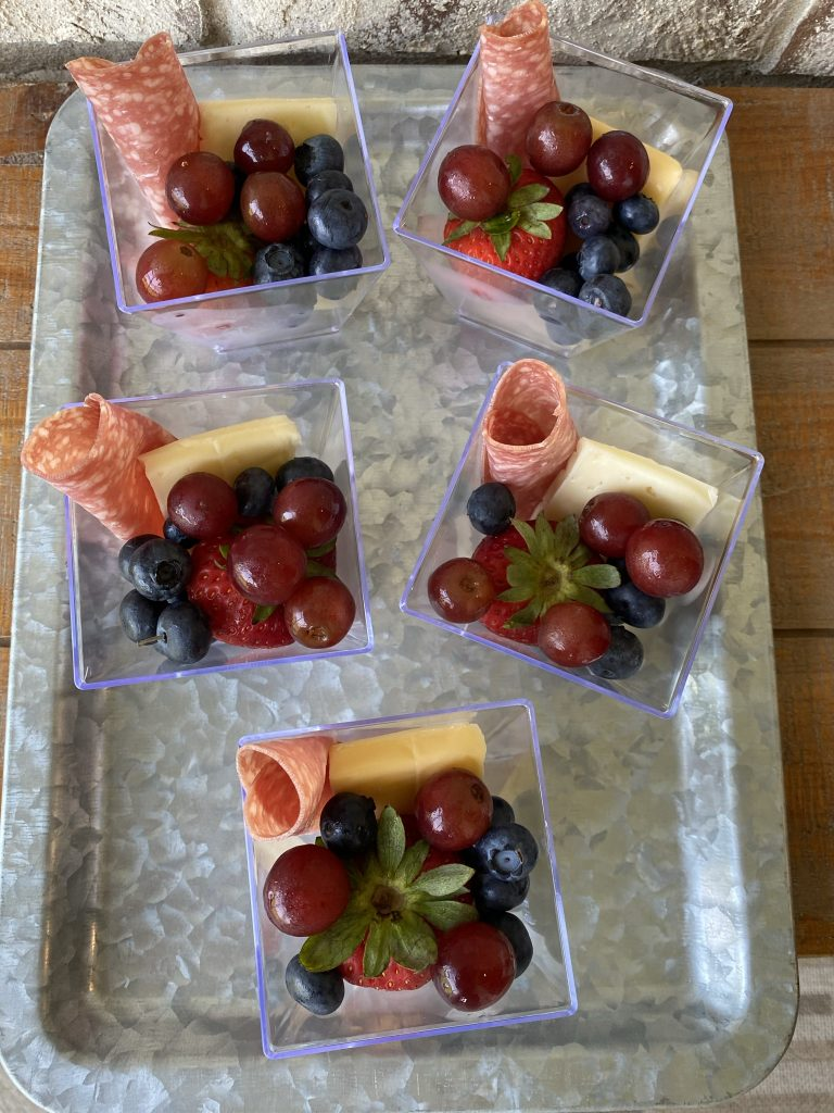 Charcuterie Cups on a silver platter