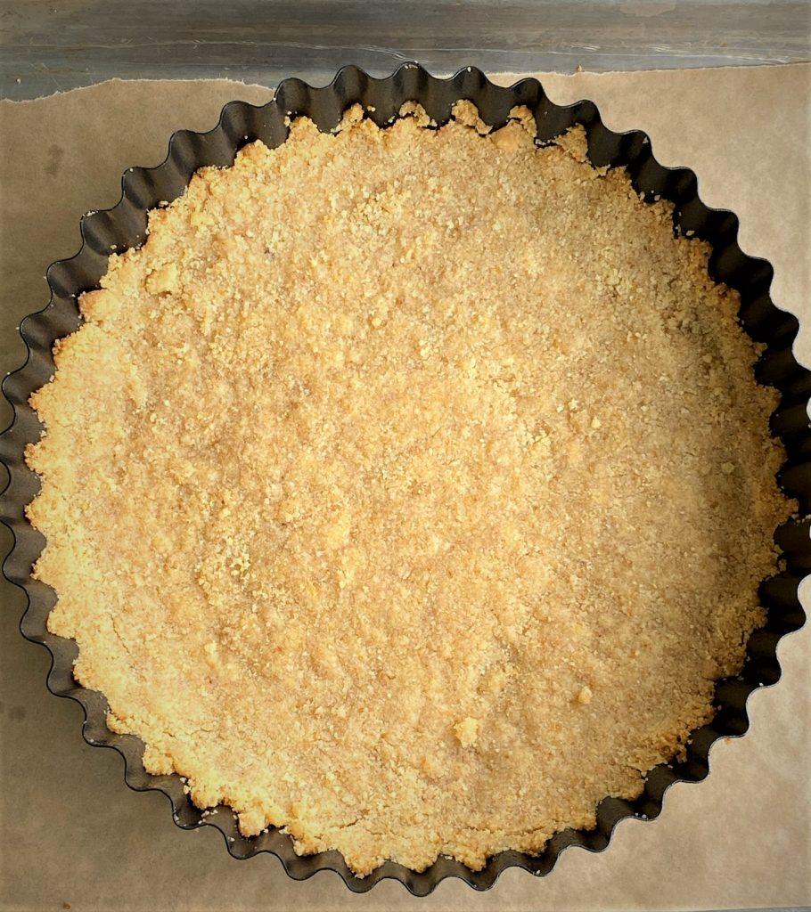 lemon cookie crust in tart pan