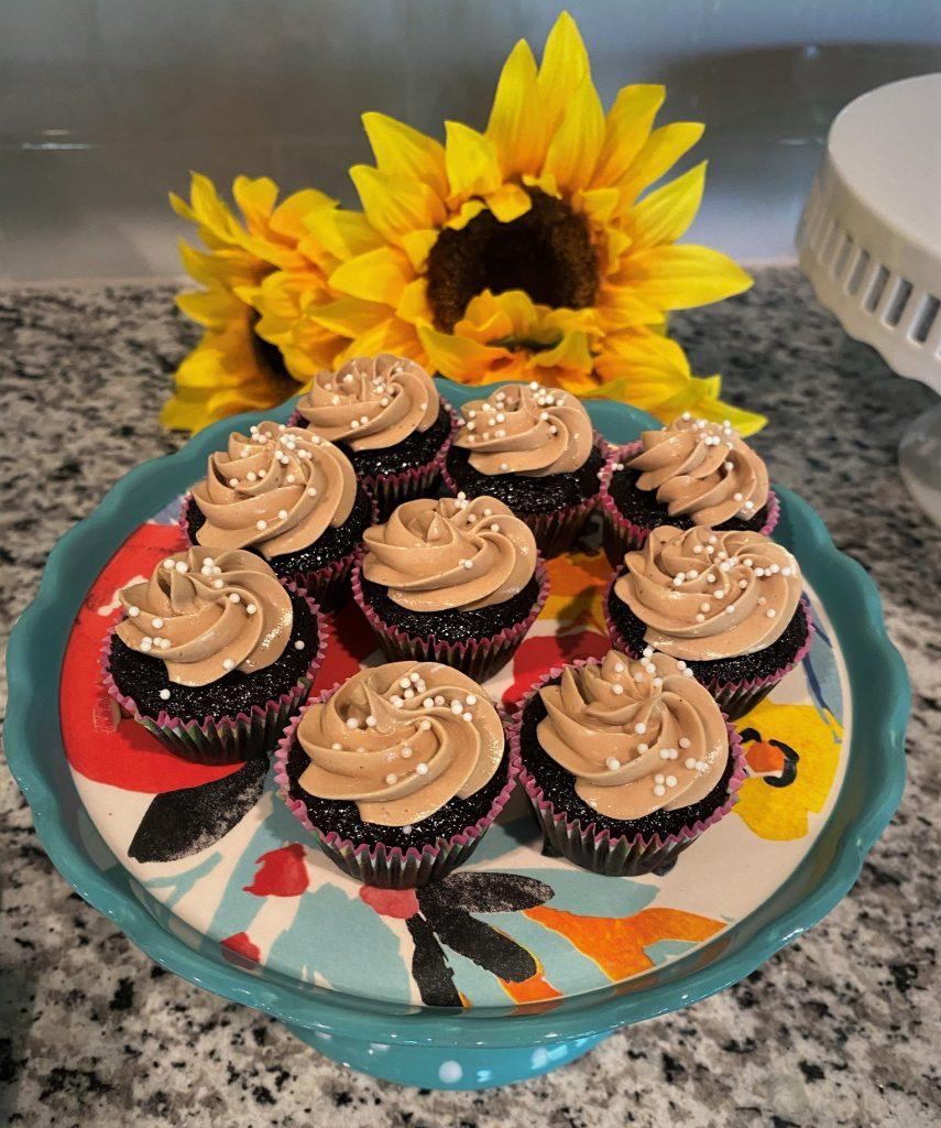 mini mocha cupcakes on a mini cake stand