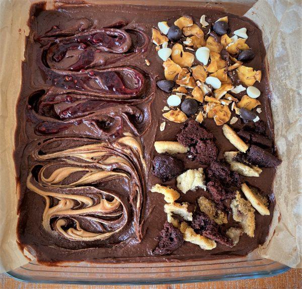 4 way brownies toppings before baking