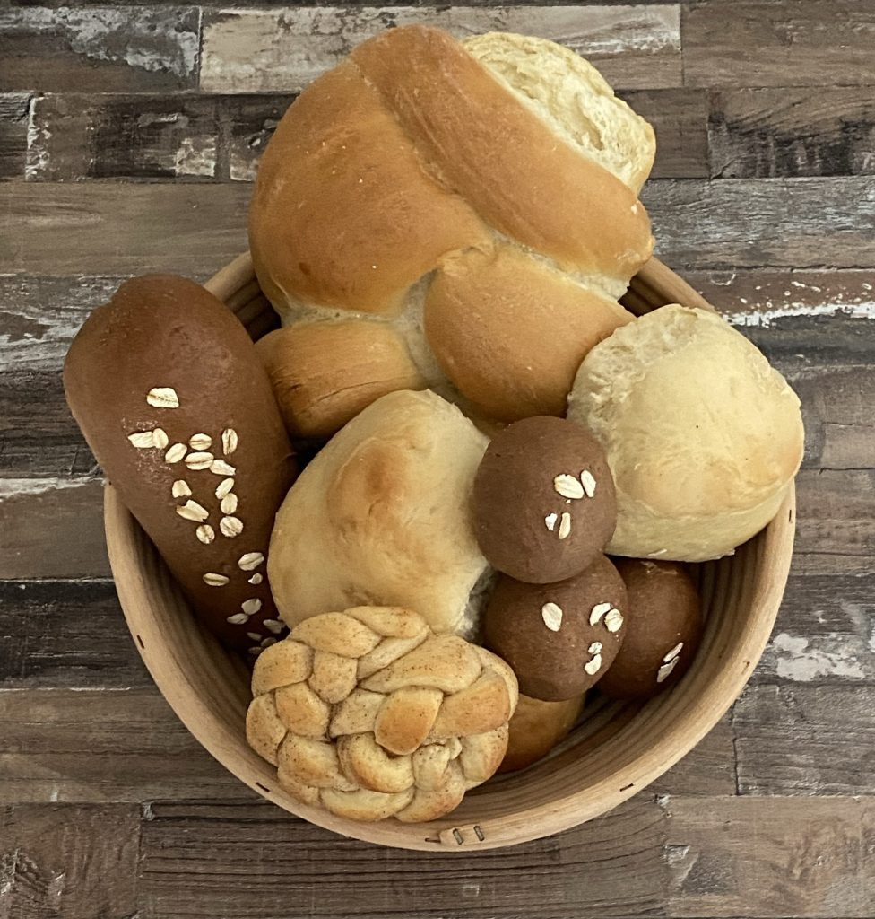 bread basket many different breads
